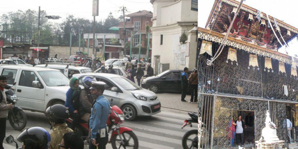 Verkeersdrukte en Durbar Square Kathmanda
