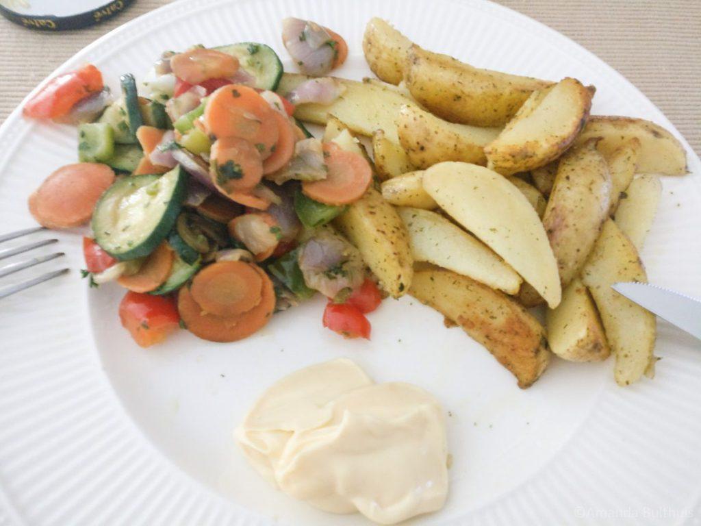 Franse wokgroente met gebakken aardappelen