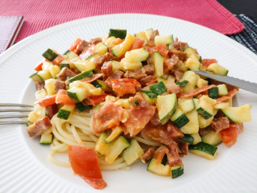 Spaghetti courgette chorizo
