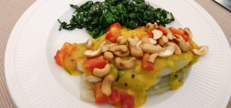 Witlof met kerriesaus en spinazie