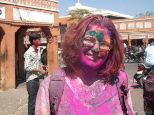 Amanda bij Holi Jaipur
