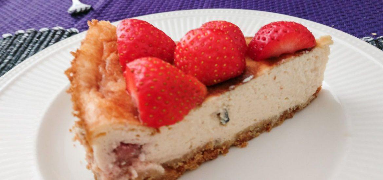 Lactosevrije cheesecake met aardbeien
