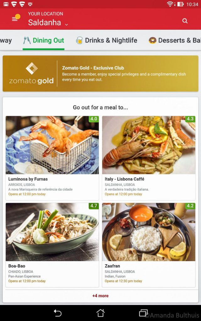 Screenshot Zomato App