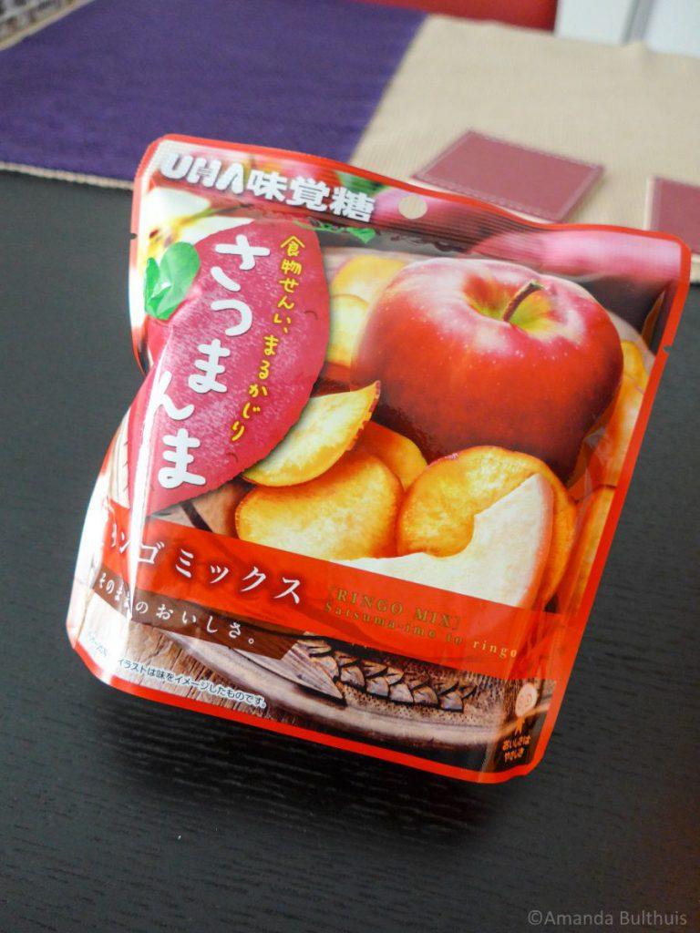 Zoete aardappel en appel chips