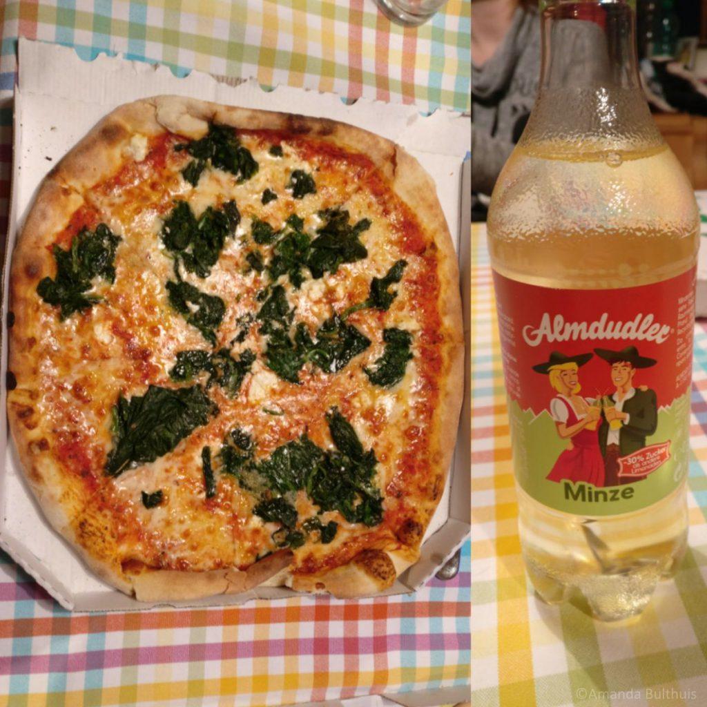 Pizza en Almdudler Mint