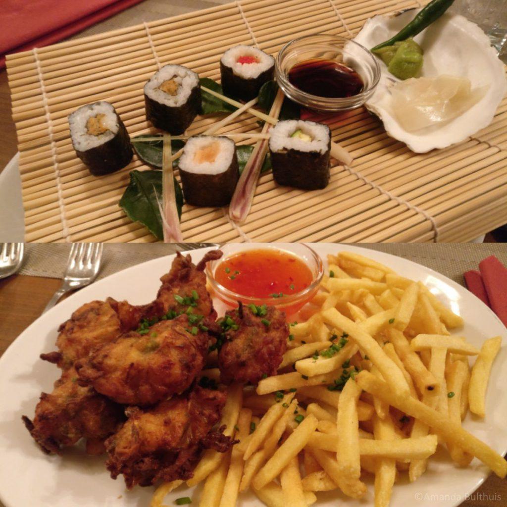 Sushi en sojakrapfen