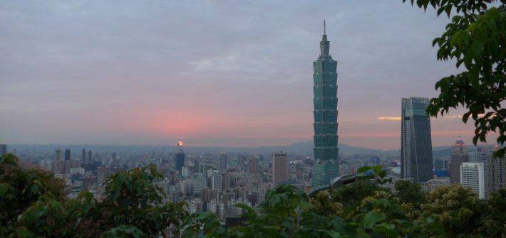 Uitzicht op Taipei 101 vanaf Elephant Mountain