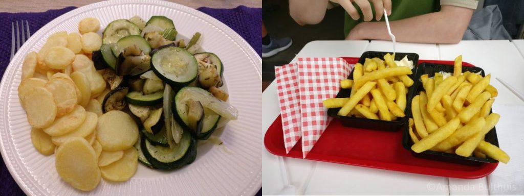 Ovengroente, aardappelschijfje en friet