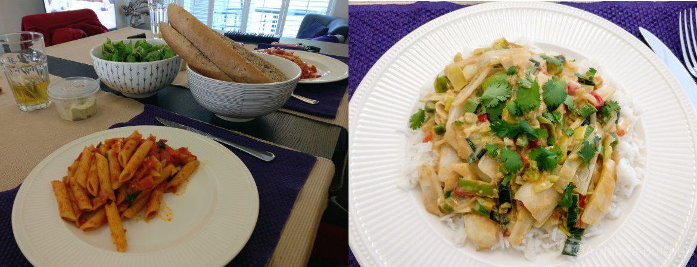 Pasta met salade en groene curry met witlof