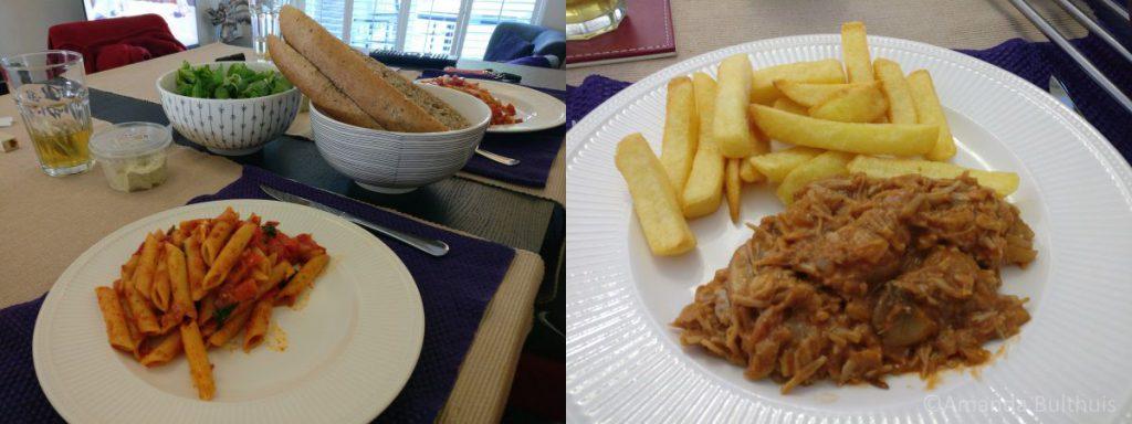 Pasta met salade en stoofvlees van jack fruit