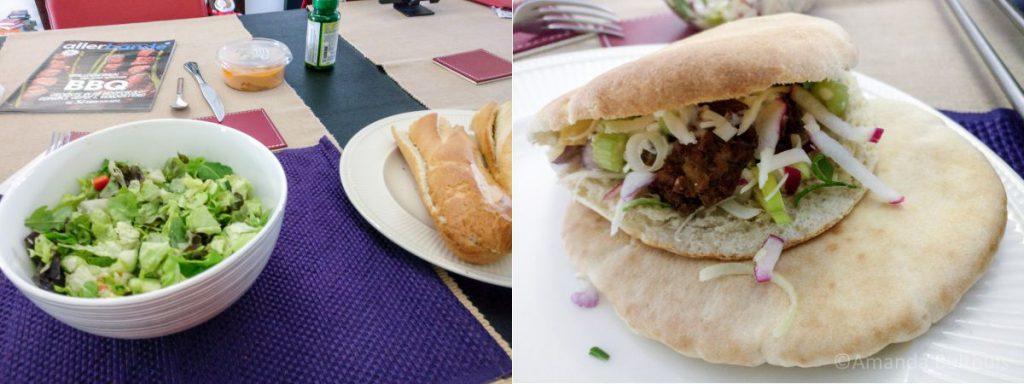 Salades en pita met falafel