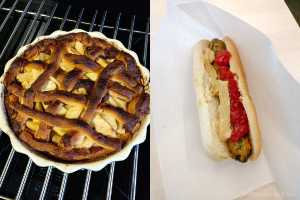 Appeltaart en veggie hotdog