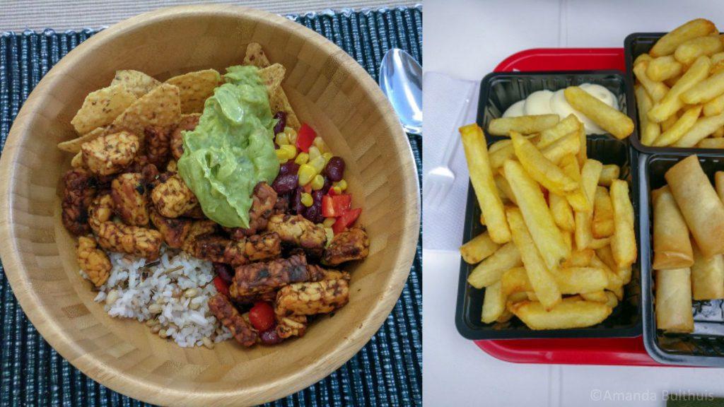Mexicaanse rijstbowl en frietjes met vegetarische loempia's