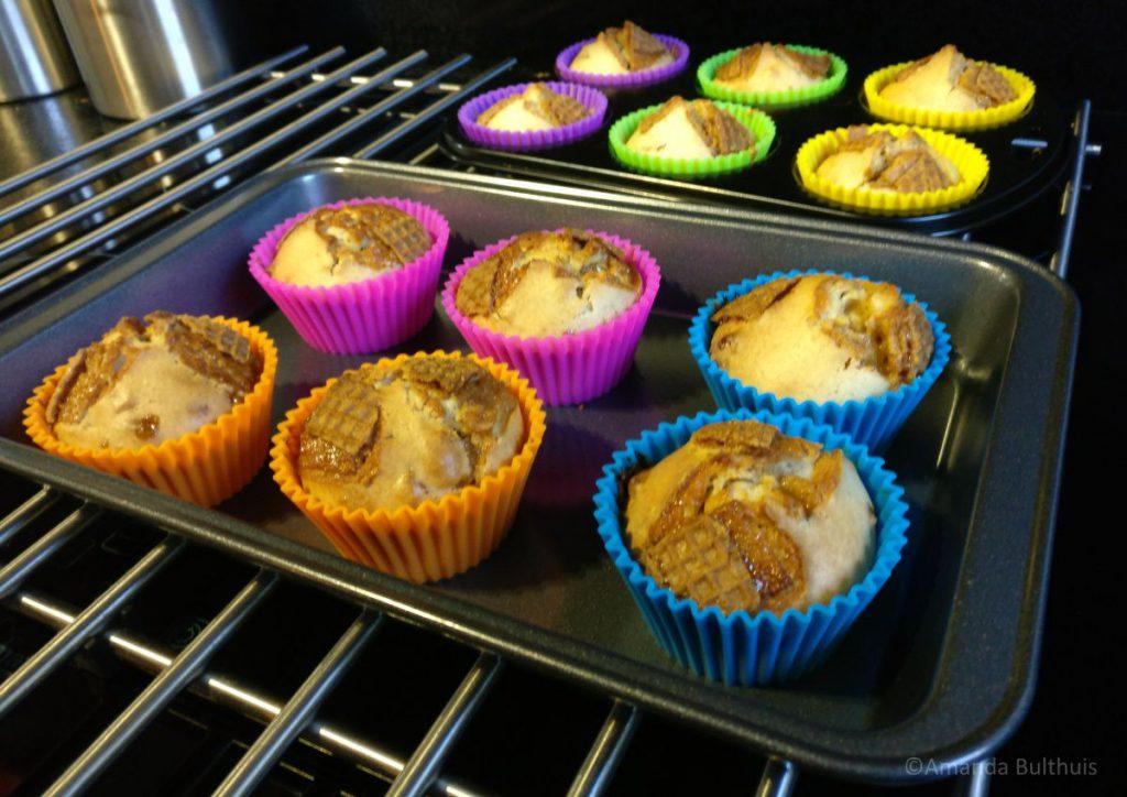 Muffins met stroopwafel