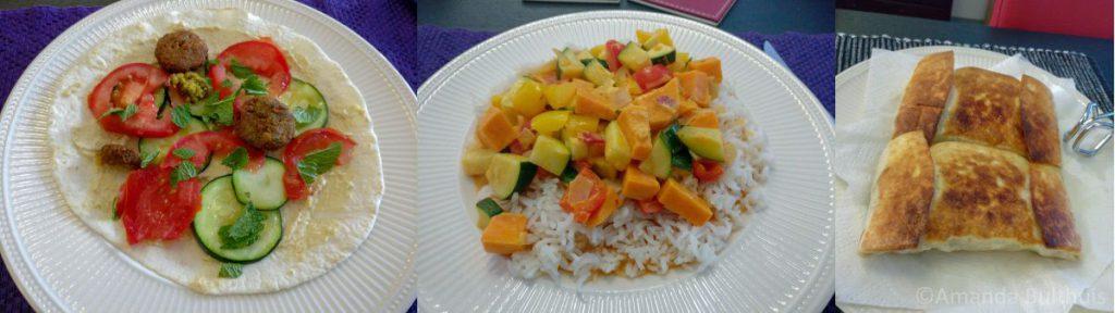 Wraps, rode curry en chimichanga's