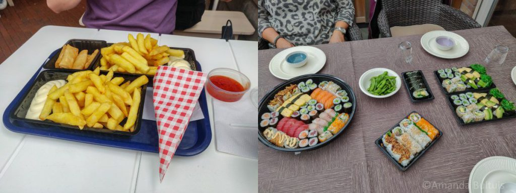 Friet en sushi