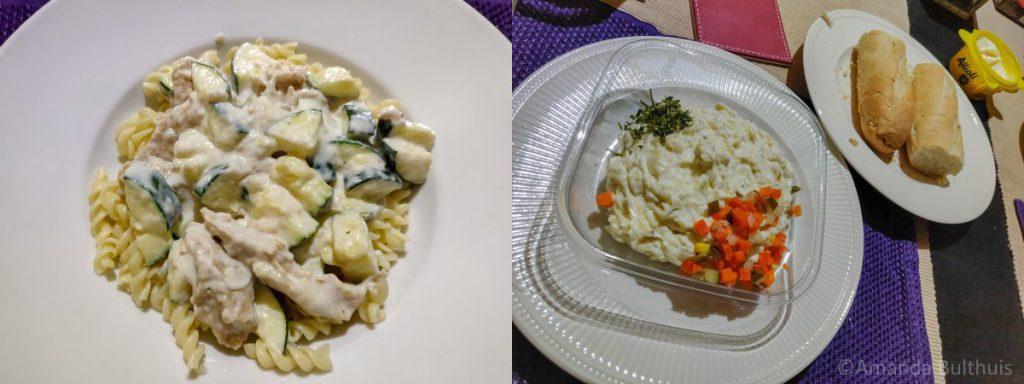 Pasta met courgette en aardappelsalade