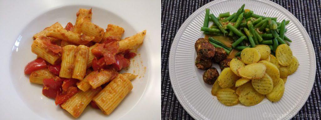 Snelle pasta en groenteballetjes met sperziebonen