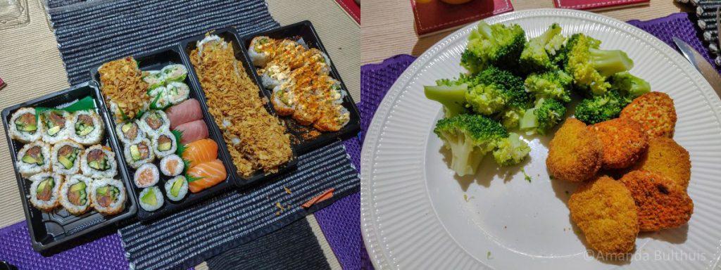 Sushi en broccoli met nuggets