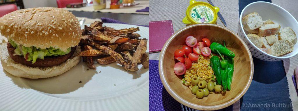 Vega burger en Spaanse bowl