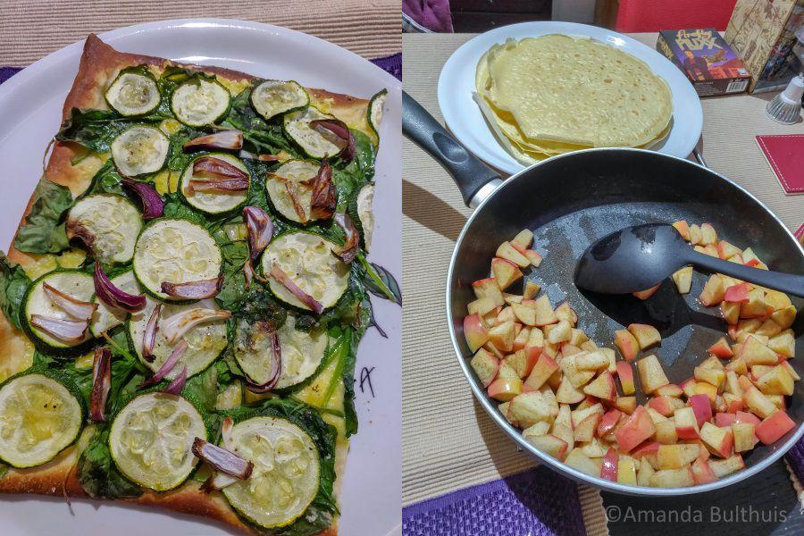 Vegan pizza bianca en pannenkoeken met appel