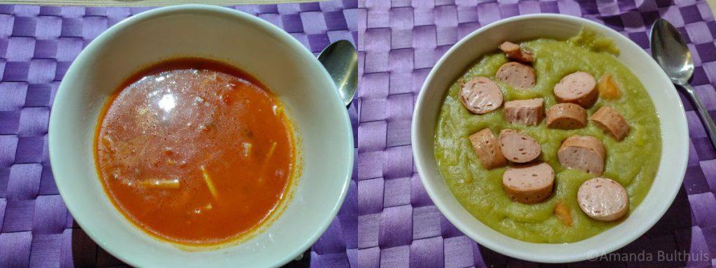 Chinese tomatensoep en erwtensoep met vegetarische rookworst