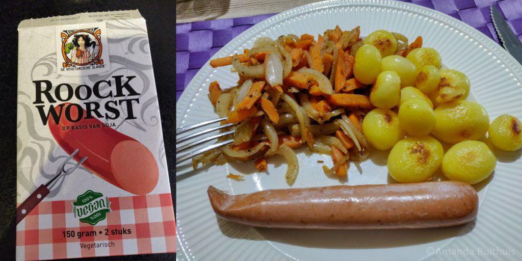 Ongestampte hutspot met Roockworst vegetarische slager