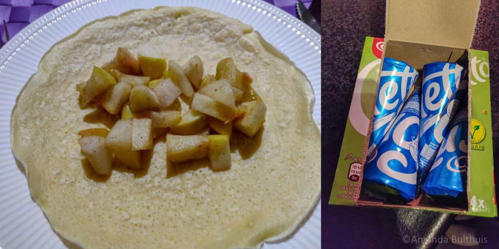 Pannenkoeken met appel en peer en vegan cornetto's