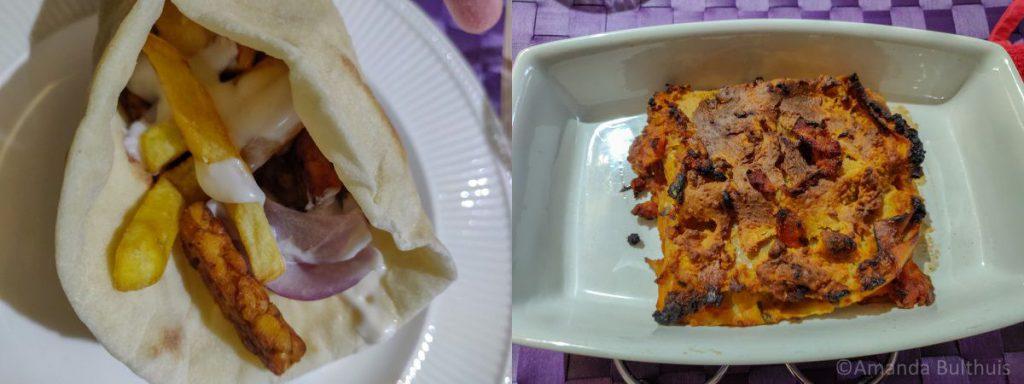 Vegetarische souvlaki en een restje lasagna
