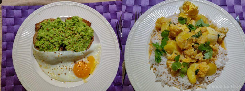 Avocado toast en curry mer bloemkool, aardappel en ei