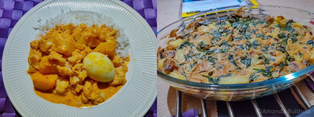 Curry met aardappel, bloemkool en ein en een ovenschotel