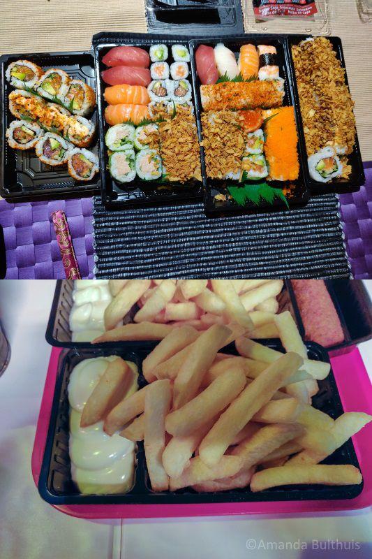 Sushi van AH XL en frietjes