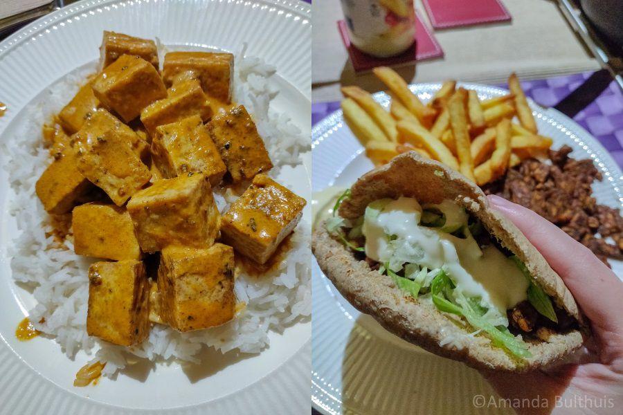 Tofu curry en vegetarische shoarma