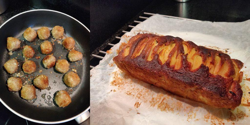 Vegetarische Zweedse ballen en perencake