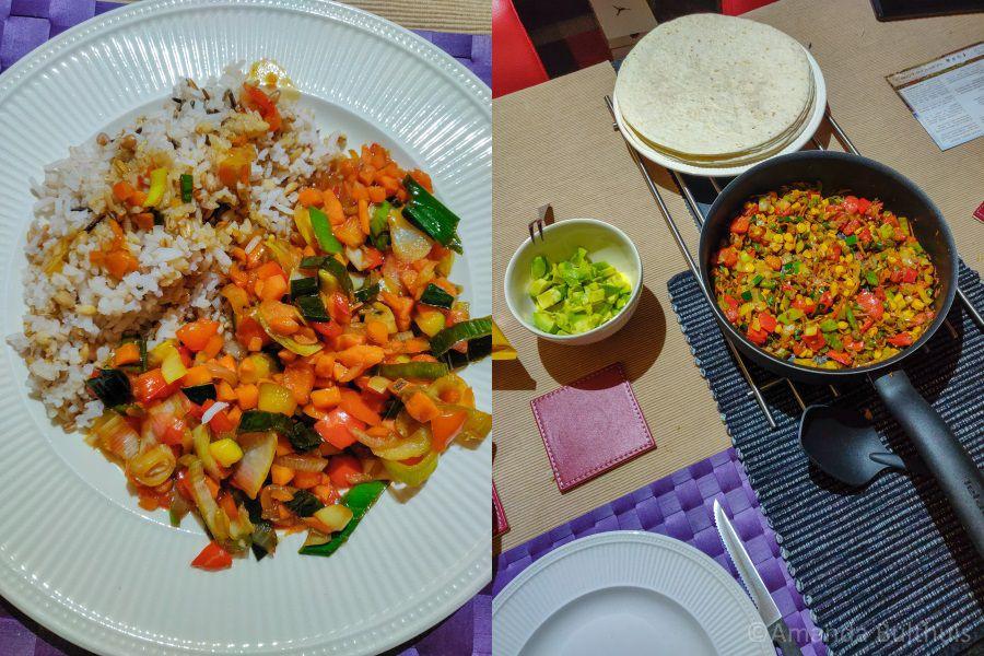 Wok met meergranenrijst en Mexicaans eten