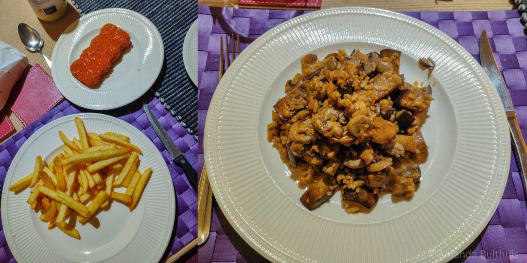 Friet en wok met aubergine