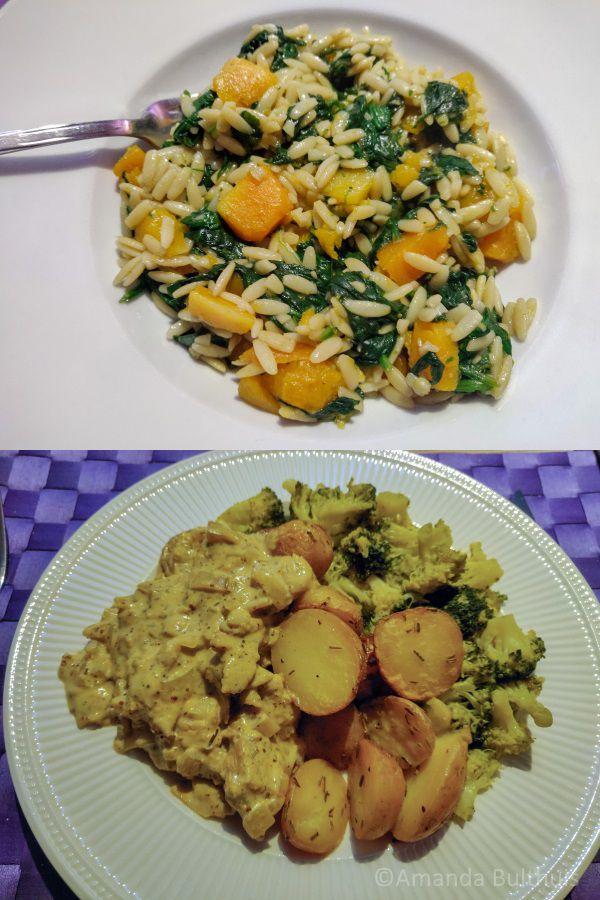 Orzo met kip en pompoen en Broccoli met kip met mosterdsaus