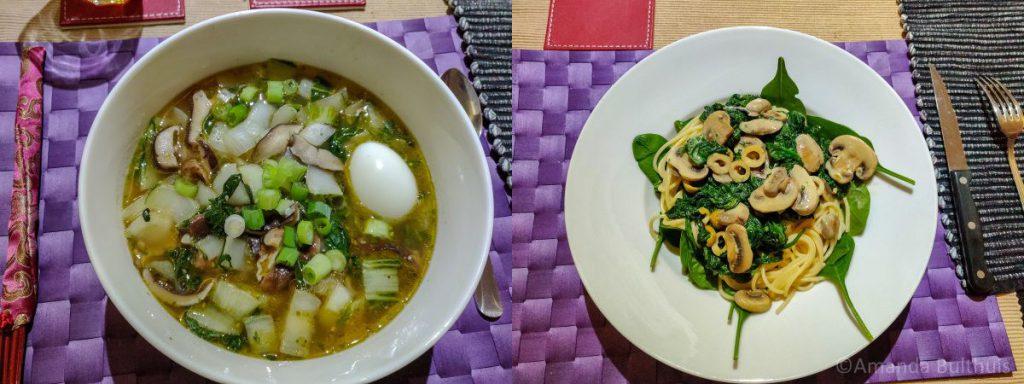 Ramen en pasta met spinazie en champignons