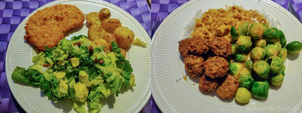 Salade met aardappel en kipschnitzel en spruitjes
