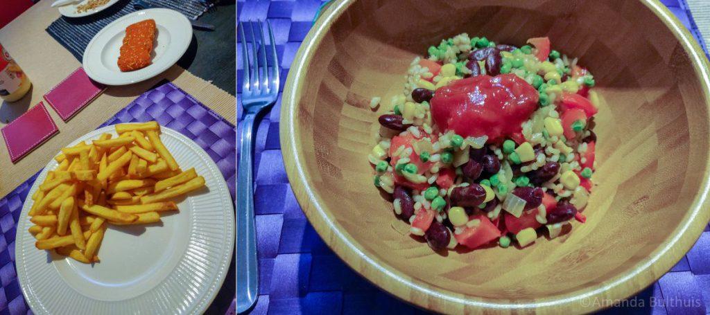 Frietjes en paellarijst met groente