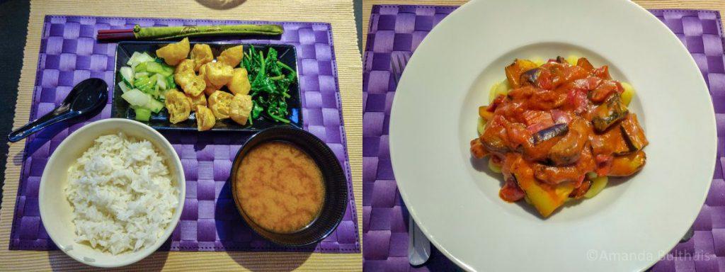 Japans ontbijt en gnocchi met gegrilde groente