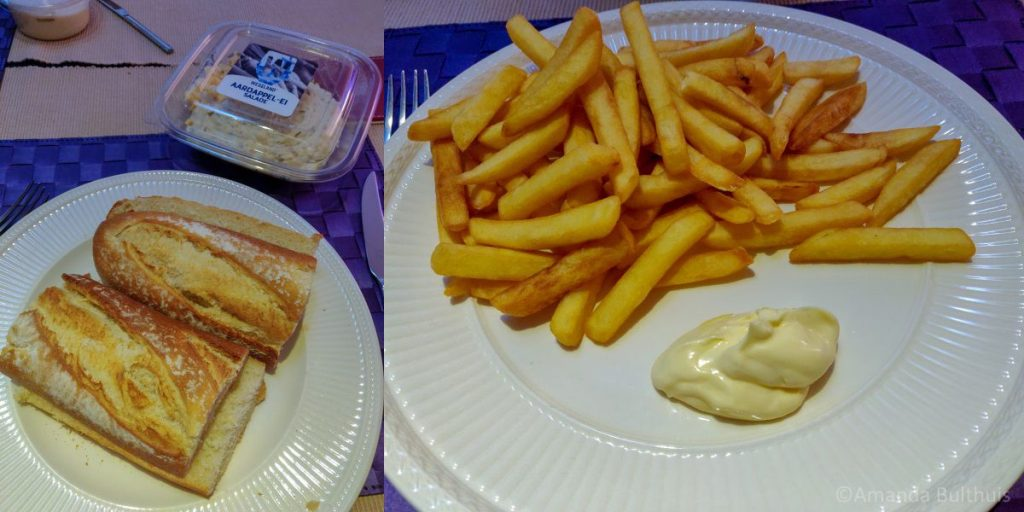 Aardappelsalade en friet