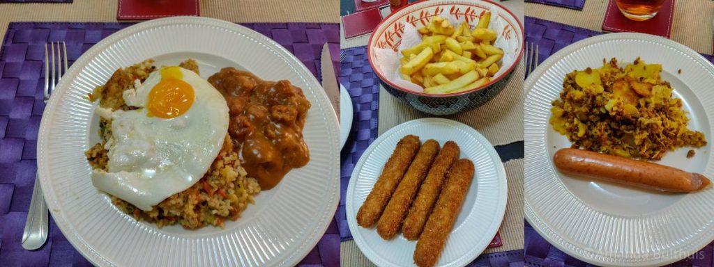 Nasi, kipcorns en zuurkoolschotel