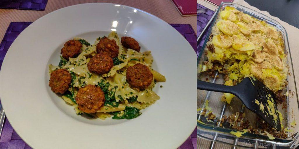 Pasta pesto met falafel en zuurkoolschotel