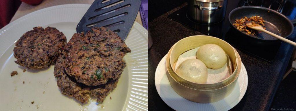 Zwarte bonen burger en broodje bapao