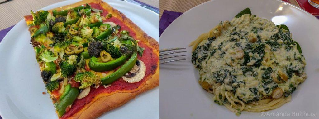 Pizza en spaghetti