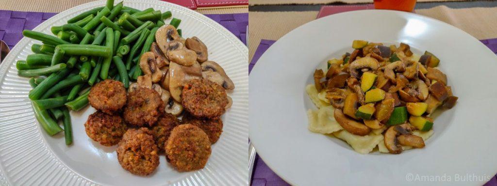 Sperziebonen met  falafel en pasta