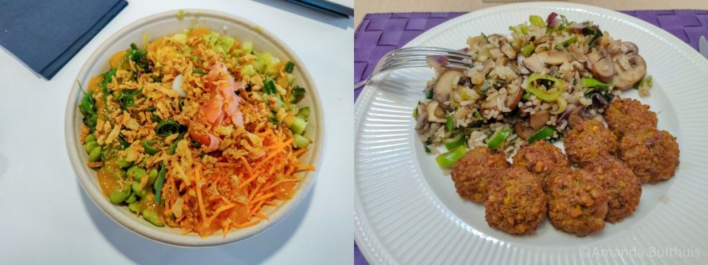 Pokébowl met vegan fish en wok met falafel