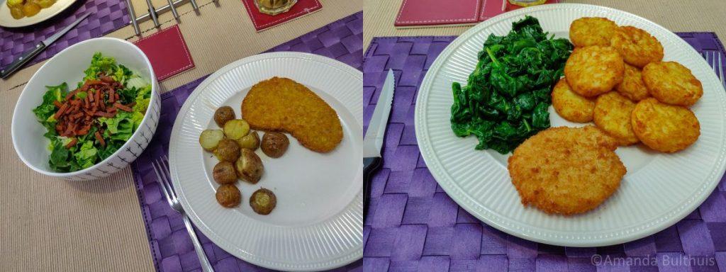 Salade met krieltjes en spinazie met vegan kaasschnitzel
