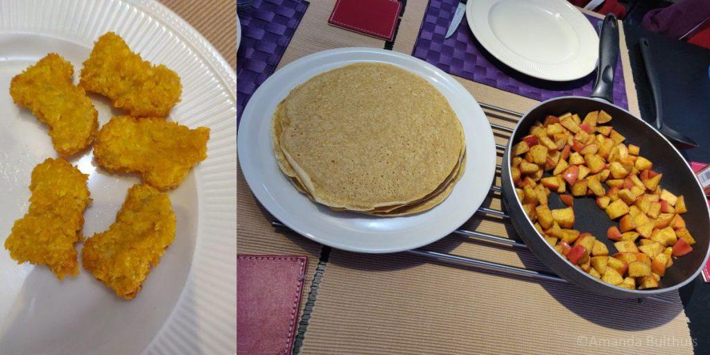 Veganuggets en pannenkoeken